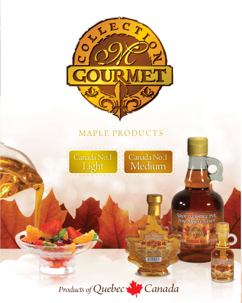 M GOURMET COLLECTION- Quebec Pure Maple Syrup- Canada NO1 LIGHT and Canada NO1 MEDIUM