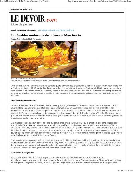 Le DEVOIR- Philippe Mollé August 2012