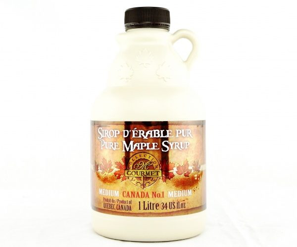 Pure maple syrup 1L-34 US fl.oz CANADA A- Amber, Rich Taste jug