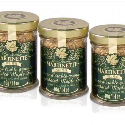 Pure granulated maple sugar NUGGETS -3 X 40g /1.4 US fl oz  – Glass jars
