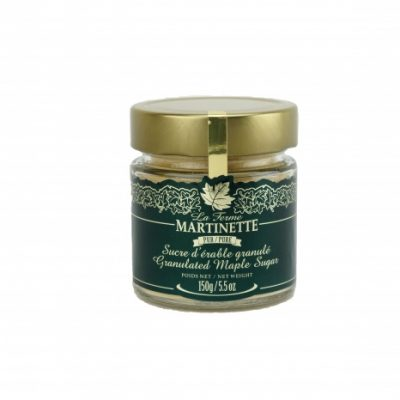 Pure granulated maple sugar FINE – 5.5 oz / 150 g Glass jar