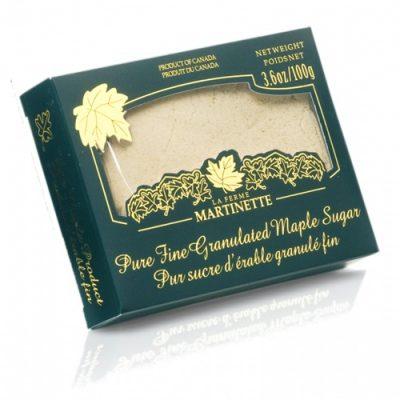 Pure granulated maple sugar FINE – Box of 3.6 oz / 100g