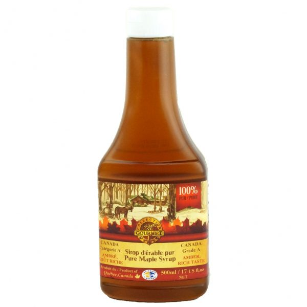Pure maple syrup 500 ml – Amber, Rich Taste – Squeezable Bottle