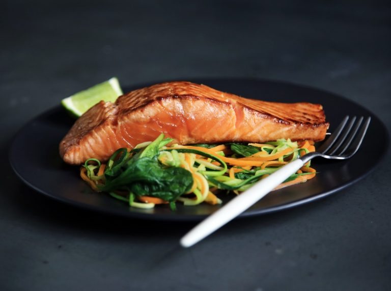 Maple-marinated Salmon with Beet Salad and Grilled Leeks