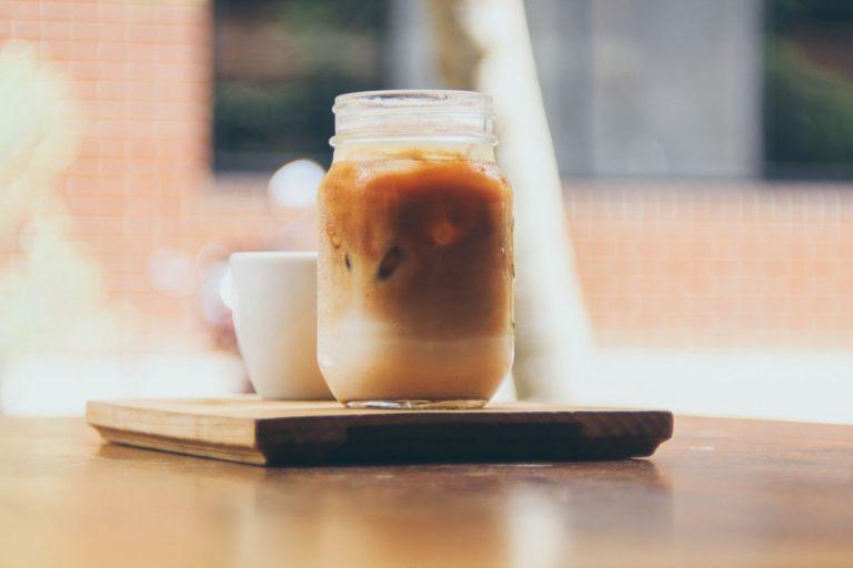 Vegan maple syrup iced coffee