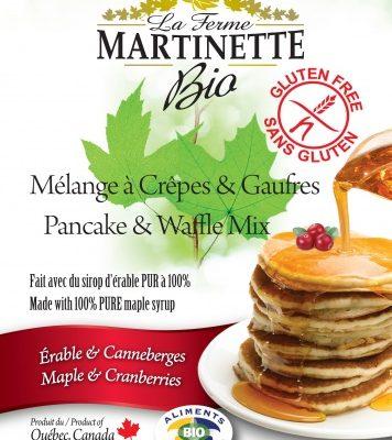 GLUTEN FREE ORGANIC Maple-Cranberry 250g Pancake & waffle mix