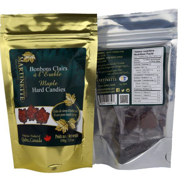 Clear hard maple syrup candies -100g
