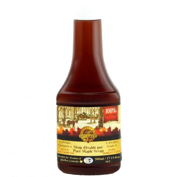 Pure maple syrup 500 ml – Dark, Robust Taste – Squeezable Bottle