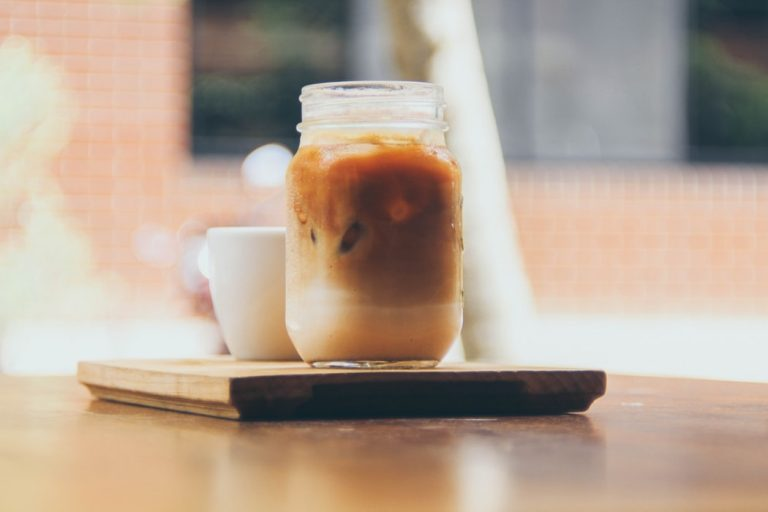 Vegan maple syrup iced coffee